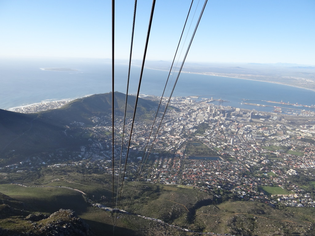 View of Capetown from Aerial Cable Car to Table Mountain