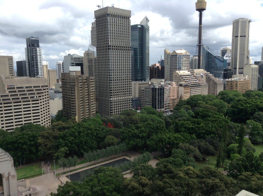 Sydney CBD and Hyde Park view