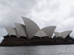 Sydney Opera House in clouds and rain