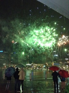 Sydney fireworks in the rain