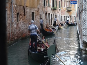 Venice gondola assembly line in canals